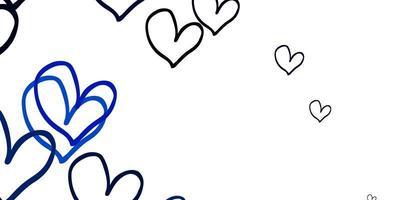 modello di vettore blu chiaro con cuori di doodle.