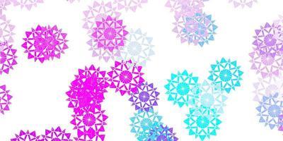 modello vettoriale rosa chiaro, blu con fiocchi di neve di ghiaccio.