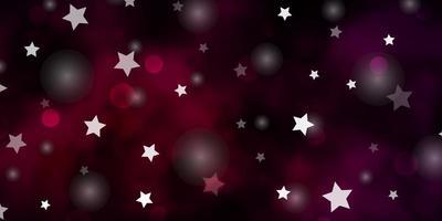 layout vettoriale viola scuro con cerchi, stelle.