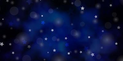 sfondo vettoriale blu scuro con cerchi, stelle.