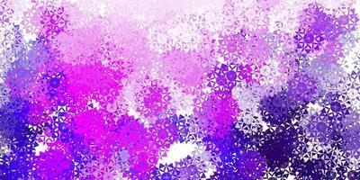 modello vettoriale viola chiaro con fiocchi di neve di ghiaccio.