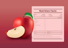 Illustrazione di un'etichetta di fatti nutrizione con una mela frutta vettore