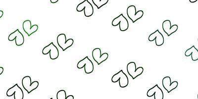 modello vettoriale verde chiaro con cuori doodle.