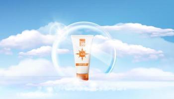 modello di annunci di protezione solare, design di prodotti cosmetici per la protezione solare con sfocatura del mare, luce anulare vettore