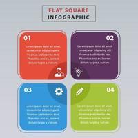 design piatto gradini quadrati colorati infografica. infografica quadrata piatta con 4 passaggi. vettore