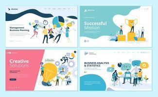 set di modelli di progettazione di pagine Web per il lavoro di squadra, la gestione dei progetti, il flusso di lavoro aziendale, la gestione delle relazioni con i clienti vettore