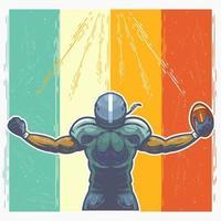 giocatore di football americano che celebra il design vettore