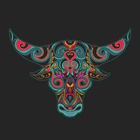 vettore di illustrazione ornamentale testa di toro