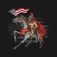grafica vettoriale di guerriero americano grunge illustrazione