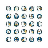 set di icone di contorno riempito documento. vettore e illustrazione.