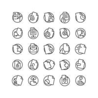 set di icone di contorno del documento. vettore e illustrazione.