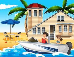 scena della spiaggia con una coppia alla guida di un motoscafo vettore