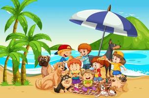 scena all'aperto sulla spiaggia con molti bambini e il loro animale domestico vettore