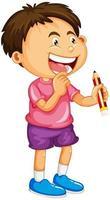 un ragazzo che tiene un personaggio dei cartoni animati di matita isolato su sfondo bianco vettore