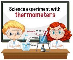 scienziato che spiega esperimento scientifico con termometri vettore