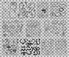 insieme di oggetti e simboli disegnati a mano scarabocchi vettore