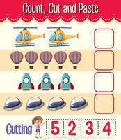 contare, tagliare e incollare foglio di lavoro di matematica per bambini vettore