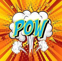 parola pow su sfondo di esplosione di nuvola comica vettore