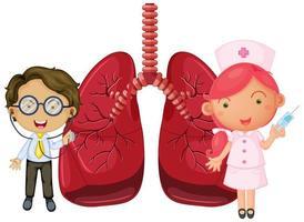polmoni con un medico e un personaggio dei cartoni animati di infermiera vettore