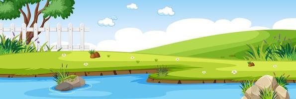 scena del fiume nel parco con scena orizzontale prato verde vettore