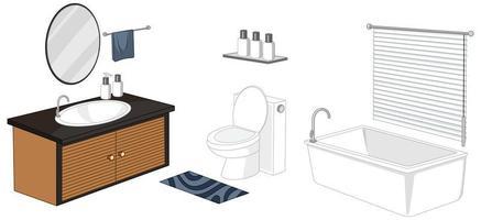 mobili da bagno isolati su sfondo bianco vettore