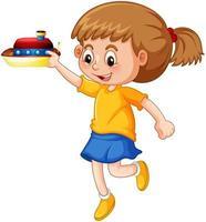 una ragazza che tiene un personaggio dei cartoni animati giocattolo nave isolato su sfondo bianco vettore