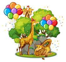 molte giraffe nel tema del partito nella priorità bassa della foresta della natura isolata vettore