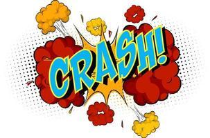 parola crash su sfondo di esplosione di nuvola comica vettore