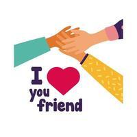 celebrazione del giorno dell'amicizia felice con le mani che sollevano lo stile pastello dei cuori vettore