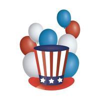 cappello da giorno del presidente con bandiera usa e palloncini vettore