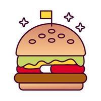 delizioso hamburger fast food icona di stile dettagliato