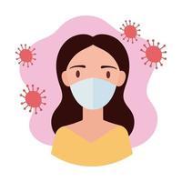 donna che indossa stile blocco maschera medica vettore