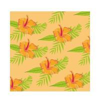 fiori d'arancio piante tropicali pattern di sfondo vettore