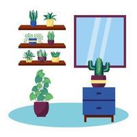 piante e mobili disegno vettoriale