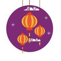 disegno vettoriale di lanterne cinesi