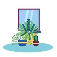 piante isolate e disegno vettoriale di finestra
