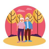 nonna e nonno fumetto disegno vettoriale