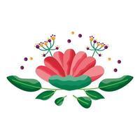 fiore isolato con foglie ornamento design