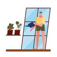 uomo con piante e annaffiatoio a disegno vettoriale finestra di casa