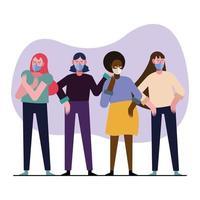 giovani donne interrazziali che indossano maschere mediche vettore