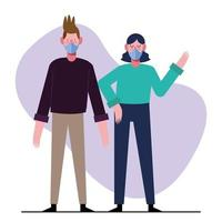 giovane coppia che indossa maschere mediche vettore