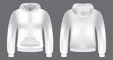 Modello di felpa con cappuccio bianco vettore