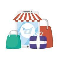 smartphone con tenda da sole, cesto e regali disegno vettoriale