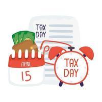 calendario del 15 aprile del giorno fiscale con disegno vettoriale di documento e orologio