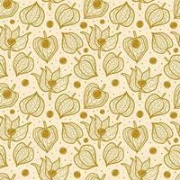 Physalis inverno ciliegia seamless pattern texture di sfondo. vettore