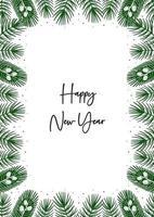 felice anno nuovo. rami di abete rosso, bordo di elementi di pino. biglietto di auguri di Natale. vettore