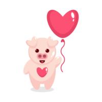maiale carino che tiene un palloncino a forma di cuore vettore