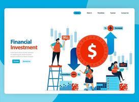 disegno vettoriale di pagina di destinazione per l'illustrazione di investimenti finanziari e commercio di valuta estera. fumetto piatto per pagina di destinazione, modello, ui ux, web, sito Web, app mobile, banner, flyer, brochure