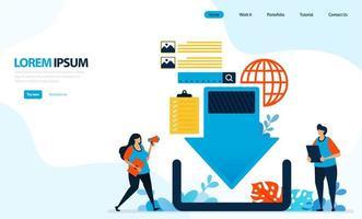 illustrazione vettoriale per il download di graphic design. rete di server Internet, freccia in basso per il download. progettato per pagina di destinazione, modello, interfaccia utente, sito Web, app mobile, volantino, brochure