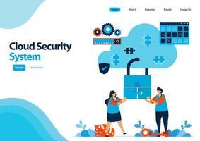 modello di pagina di destinazione del sistema di sicurezza del cloud computing. cooperazione per migliorare la sicurezza dell'accesso all'hosting. illustrazione per ui ux, sito Web, web, app mobili, flyer, brochure, pubblicità vettore